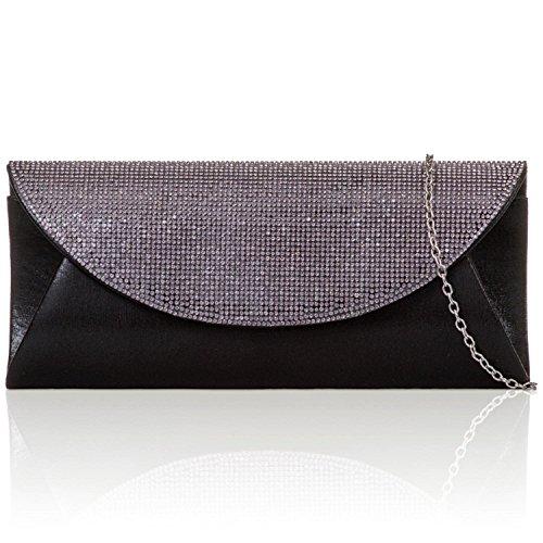 xardi Londres métallisé Shimmer Embrayage Rabat Strass de Mariée Mesdames Soirée Sacs noir