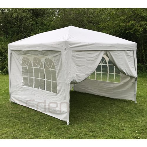 Eden Furnishings 3m X Pop Up Waterproof Garden Gazebo With 2 Wind Bars 4 Weight Bags And Carry Case