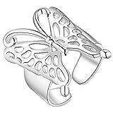 AIUIN Anillo de plata mariposas abierta anillo joyas accesorios para amigos amantes regalo tamaño ajustable con una bolsa de joyas