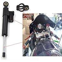 CNC Amortiguador de dirección Estabilizador regulable para Ducati Aprilia Honda Kawasaki Suzuki Yamaha BMW Monster universal 240mm Negro