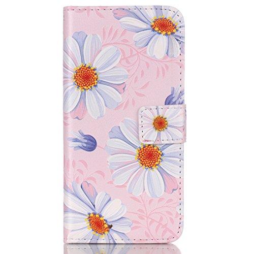 Ukayfe Custodia per iphone 6 in pelle, iphone 6S della cassa del raccoglitore, iphone 6 5.5 Case Cover, Sensazione tridimensionale di Dandelion bambino Portafoglio disegno di lusso dellunità di elab rosa crisantemo