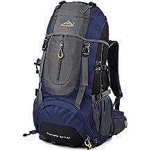 Vbiger Zaino Alpinismo 65+5L Impermeabile per Viaggio Trekking Unisex (Blu)