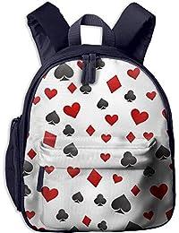 Preisvergleich für Lovely Schoolbag Lucky Gambler Poker Double Zipper Waterproof Children Schoolbag Backpacks with Front Pockets...