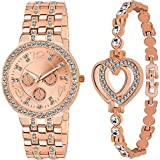 Endeavour Analogue Rose Gold Metal Bracelet & Watch combo For Women & Girls