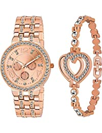 Endeavour Analogue Rose Gold Metal Watch & Bracelet Combo for Women & Girls
