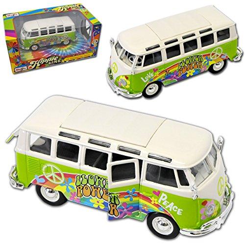alles-meine.de GmbH VW Volkswagen T1 Grün Hippie Flower Power Samba Bully Bus 1950-1967 1/25 1/24 Maisto Modell Auto mit individiuellem Wunschkennzeichen