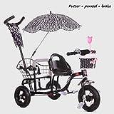 MRXUE Baby Stroller Light Double Tricycle Fahrradfalteprak Zwei-Stufen-Anpassung von Platz 1-6 Jahre alt,Black2