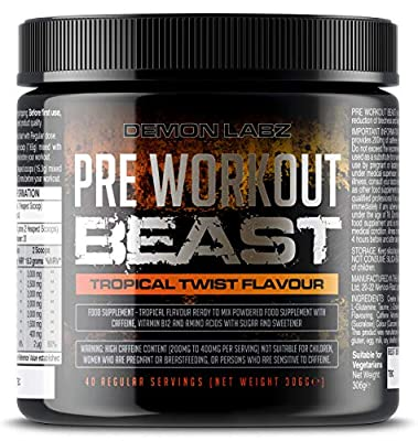 Pre Workout Beast (Tropical Twist Flavour) - Hardcore Pre-Workout Supplement with Creatine, Caffeine, Beta-Alanine and Glutamine (Regular - 306 Grams | 40 Servings) by Demon Labz