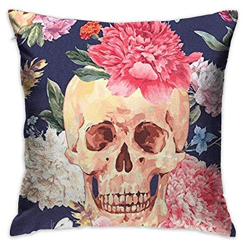 FPDecor Dekorativ Kissenbezug, Throw Pillow Cover Vintage Happy Halloween Colorful Skulls Roses Decorative Pillow Case Decor Square 18x18 Inch Cushion Pillowcase