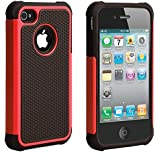 ULAK iPhone 4 case / iPhone 4S Carcasa Funda Cases caso Anti Golpes Hñbrida de Silicona Protectora para Apple iPhone 4 4s (Rojo)