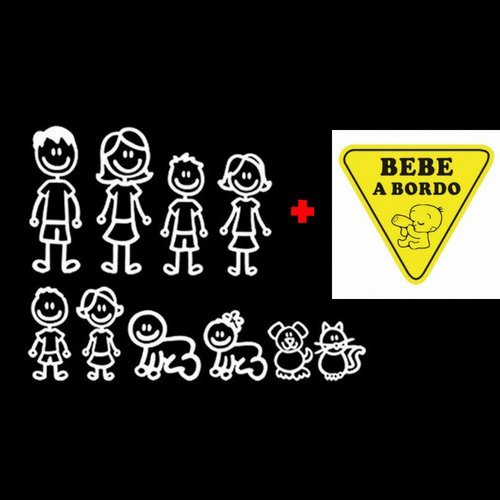 Kit Paquete Familia de 10 + Pegatina Bebe a Bordo para el Coche