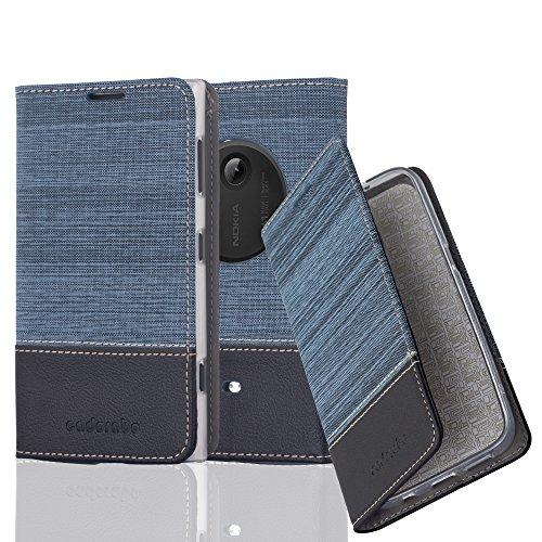 Preisvergleich Produktbild Cadorabo Hülle für Nokia Lumia 1020 - Hülle in DUNKEL BLAU SCHWARZ – Handyhülle mit Standfunktion und Kartenfach im Stoff Design - Case Cover Schutzhülle Etui Tasche Book