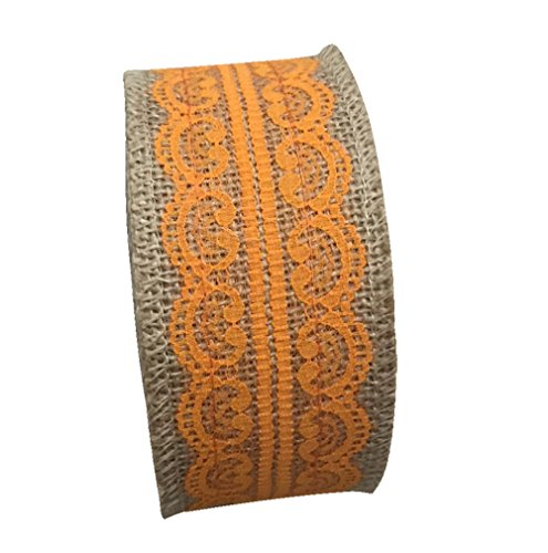 en Band Naturjute mit orange Spitze Sackleinen Stoff für Hademade DIY Geschenkverpackung (Billige Sackleinen-stoff)