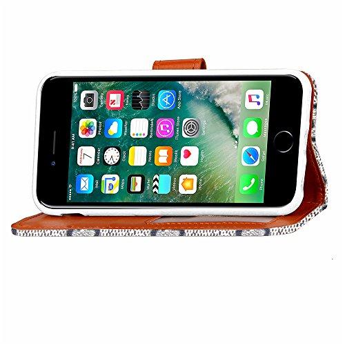Voguecase® Pour Apple iPhone 7 4,7 Coque, Étui en cuir synthétique chic avec fonction support pratique pour iPhone 7 4,7 (Cowboy rivets boucle croix-Bleu)de Gratuit stylet l'écran aléatoire universell Gris