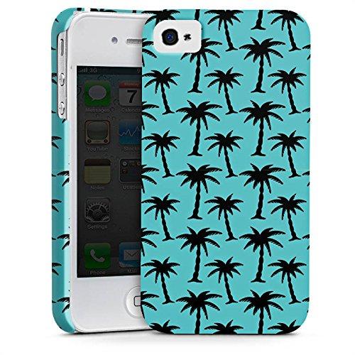 Apple iPhone X Silikon Hülle Case Schutzhülle Palmen Muster Blau Premium Case glänzend