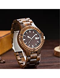 Los hombres de madera reloj caliente 2017 correa de muñeca relojes de cuarzo con sándalo calendario reloj macho marca…