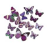EOZY Lila 12er 3D Schmetterling Wandsticker Aufkleber Fenstersticker Fensterbild Wand Deko Wanddekoration
