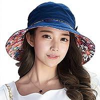 Siggi Ladies Bucket Summer Sun Hat Foldable Beach Cap Wide Brim UPF50+ Packable for Women Navy