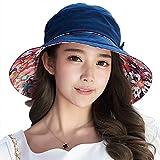 SIGGI Baumwolle schwarzblauer Sommerhut UPF 50 + Sun Shade Strand Hut für Frauen Sonnenhüte breite Krempe
