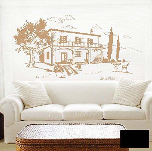 Wandtattoo Wandaufkleber Toscana Toskana Landhaus Italien M1605 - ausgewählte Farbe: *Schwarz* - ausgewählte Größe: *XL - 140cm breit x 70cm hoch*