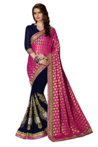 Magneitta Women's Viscose & Georgette Saree With Blouse Piece (80063_Pink-Blue)