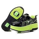 Luckly Grace Unisex enfants Chaussures de Multisports Outdoor Avec Roulettes Doubles Bouton Poussoir Ajustable Inline Skates Baskets Course à pied Sneakers pour Fille Garçon (37 EU, Noir + Vert)