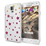 NALIA Handyhülle kompatibel mit Samsung Galaxy S5 S5 Neo, Slim Silikon Motiv Case Hülle Cover Crystal Dünn Durchsichtig, Etui Handy-Tasche Back-Cover Transparent Bumper, Designs:Stars