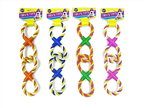 WORLD OF PETS DOUBLE FIGURE EIGHT LINKED TUG ROPES ASSORTED COLOURS
