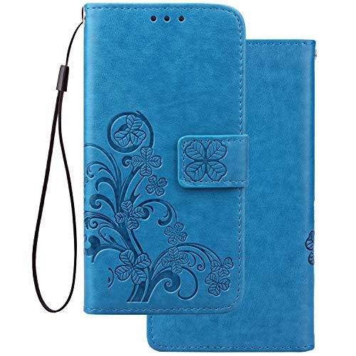 LEMORRY Handyhülle für Xiaomi Redmi Note 7 Hüllen Tasche Ledertasche Beutel Magnetisch Cover mit Kartenschlitz Weich Silikon Schale SchutzHülle für Redmi Note 7, Glücks-Klee Prägung (Blau)