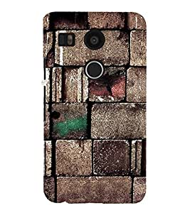 Fiobs Designer Back Case Cover for LG Nexus 5X :: LG Google Nexus 5X New (Brown Bricks Cool design Patterns Wall Home)