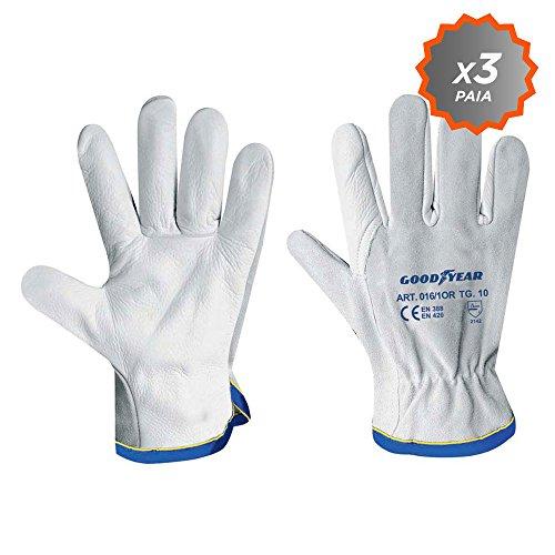 guanti da lavoro goodyear 3 paia Guanti in pelle bianca orlato al polso