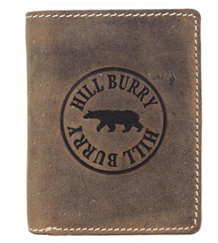 Hill Burry Herren Echt-Leder Geldbörse Portemonnaie Brieftasche Portmonee Geldbeutel Kredit-Kartenetui Wallet Vintage Organizer Reisebrieftasche aus hochwertigem Leder braun 6401HT