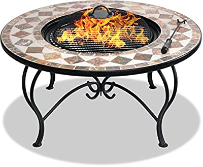Centurion Supports Fireology KENNOCHA Extravagant Garden & Patio Heater Fire Pit Brazier, Coffee Table, Barbecue and Ice Bucket - Marble Finish - cheap UK light shop.