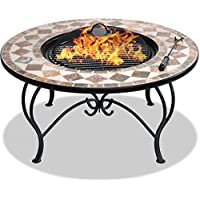 Centurion Supports Fireology KENNOCHA Extravagant Garden & Patio Heater Fire Pit Brazier, Coffee Table, Barbecue and Ice Bucket - Marble Finish