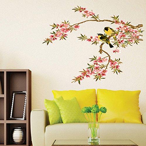 wallpark-pastorale-peches-fleur-jaune-oiseau-arbre-branche-amovible-stickers-muraux-autocollants-sal