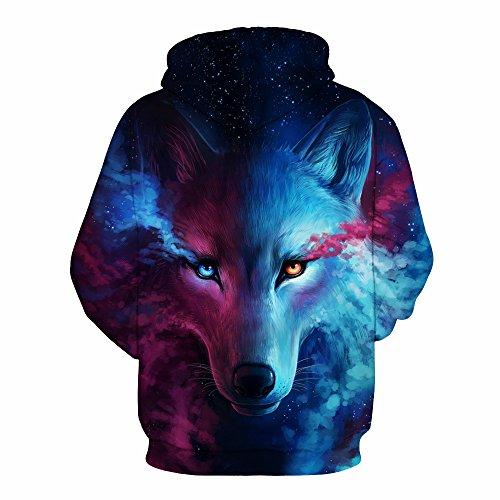 AMOMA Unisex Slim Fit 3D Digital Bedruckte Sweatshirt Kapuzenpullover Hoodies Wolf Head