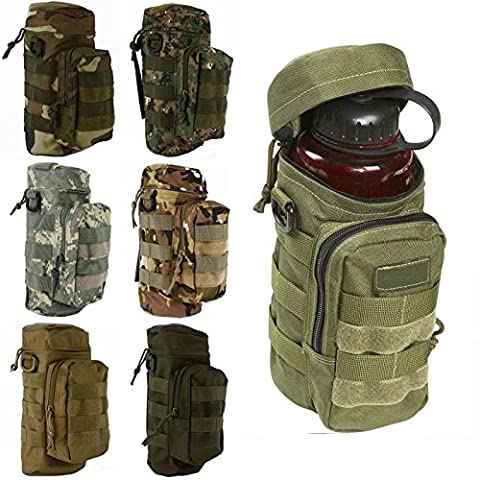 CAMTOA Military Tactical Wasserflasche Pot förmigen Wasser Bottle Pouch Tasche Zipper Fall Tasche Camo Ausrüstung für Radfahren, Wandern, Camping Schwarz - Bottle Holder Cintura