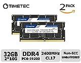 Timetec Hynix IC 32GB Kit (2x16GB) DDR4 2400MHz PC4-19200 Non ECC Unbuffered 1.2V CL17 2Rx8 Dual Rank 260 Pin SODIMM Laptop Notebook Computer Memory Ram Module Upgrade