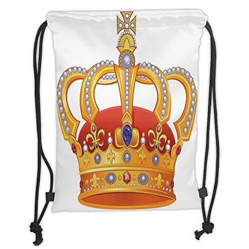 Fashion Printed Drawstring Backpacks Bags,King,Royal Crown with Gem Like Image Symbol of Imperial Majestic Print,Red White Blue and Marigold Soft Satin,5 Liter Capacity,Adjustable String Closure,T -