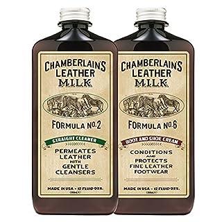 Chamberlain's Leather Milk Straight Cleaner Nr. 2 & Boot & Shoe Cream Nr. 6 - Set aus Reiniger & Conditioner für Lederstiefel & -Schuhe - Naturbasis/ungiftig 2 Auftragepads - 0.35 L