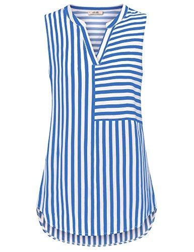 VIVILLI Damen Chiffon Bluse, Sommer Top Damen Boyfriend Style Mode Oberteile Tunika Boutiquefeel Büro Gestreift Tank Tops Blau Weiß M