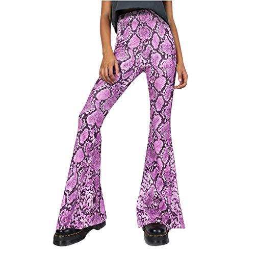 MOTOCO Damen Snake Print - Eng anliegende, ausgestellte Leggings mit hohem Hüftumfang und gerader Hose(S(38),Rosa)