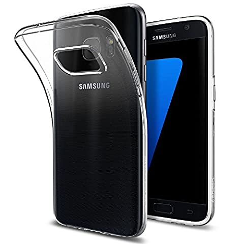 Coque Galaxy S7, Spigen [Liquid Crystal] Housse Silicone Transparent Ultra-Fine [Crystal Clear] Premium Semi-transparent / une Adherence exacte / Sans Encombrement Flexible Coque pour Samsung Galaxy S7 (2016) - (555CS20006)