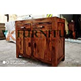 VK Furniture Sheesham Wood Sideboard Cabinets for Living Room | 2 Drawers & Cabinet Storage | Natural Brown Finish