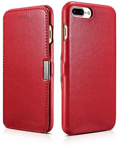 Mobiskin Tasche für Apple iPhone 8 Plus und iPhone 7 Plus (5.5 Zoll) / Case mit Echt-Leder Außenseite / Schutz-Hülle seitlich aufklappbar / ultra-slim Cover / dünne Klapphülle / Etui / Rot