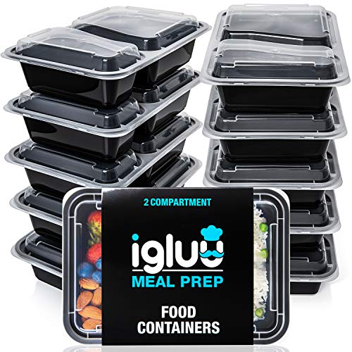 [10er Pack] 2-Fach Meal Prep Container   qualitativ hochwertig mikrowellengeeignet, spülmaschinenfest mit luftdichtem Deckels   zertifiziert BPA-Frei Bento Box   wiederverwendbar Frischhaltedosen