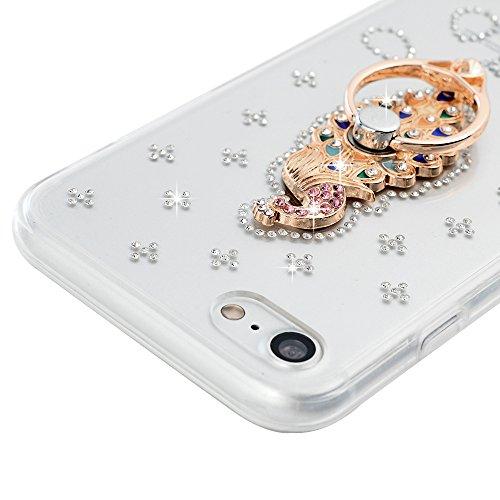 Mavis's Diary Coque iPhone 7 (4.7'') Silicone Coque iPhone 7 Transparent avec Diamant Étui Housse de Protection TPU et PC Coque Antichoc Antirayure avec Pipa Bague Ultra Mince Léger Souple Flexible Po Paon