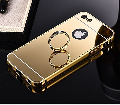 AE (TM) Branded Premium Quality Original Luxury Metal Bumper Acrylic PC Mirror Back Mobile Cover Case For Apple IPHONE 4 / 4S GOLD PLATED  available at amazon for Rs.299