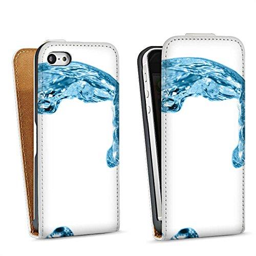 Apple iPhone 5s Housse étui coque protection Eau Water Gouttes Sac Downflip blanc