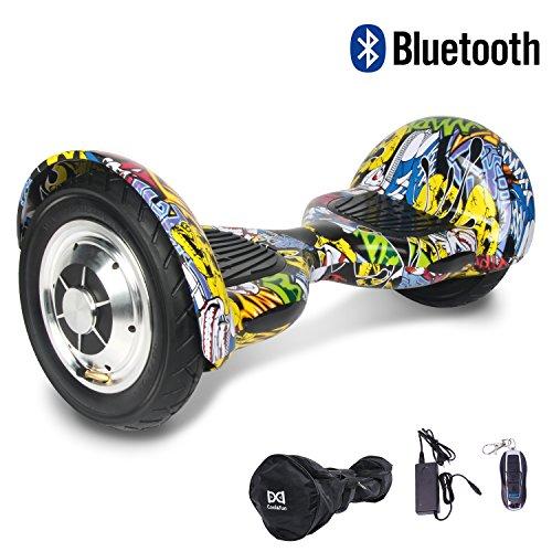 HoverBoard/Skateboard/Gyropode Éléctrique Auto-équilibrage Bluetooth Scooter Trottinette Électrique 10 Pouces,Pneu Gonflable Cool&Fun (Hiphop)